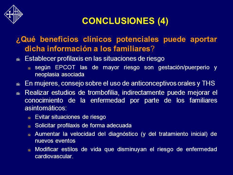 CONCLUSIONES (4) ¿Qué beneficios clínicos potenciales puede aportar dicha información a los familiares? 7 Establecer profilaxis en las situaciones de