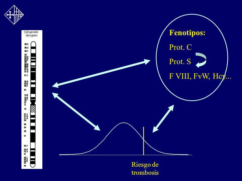 Riesgo de trombosis Fenotipos: Prot. C Prot. S F VIII, FvW, Hcy...