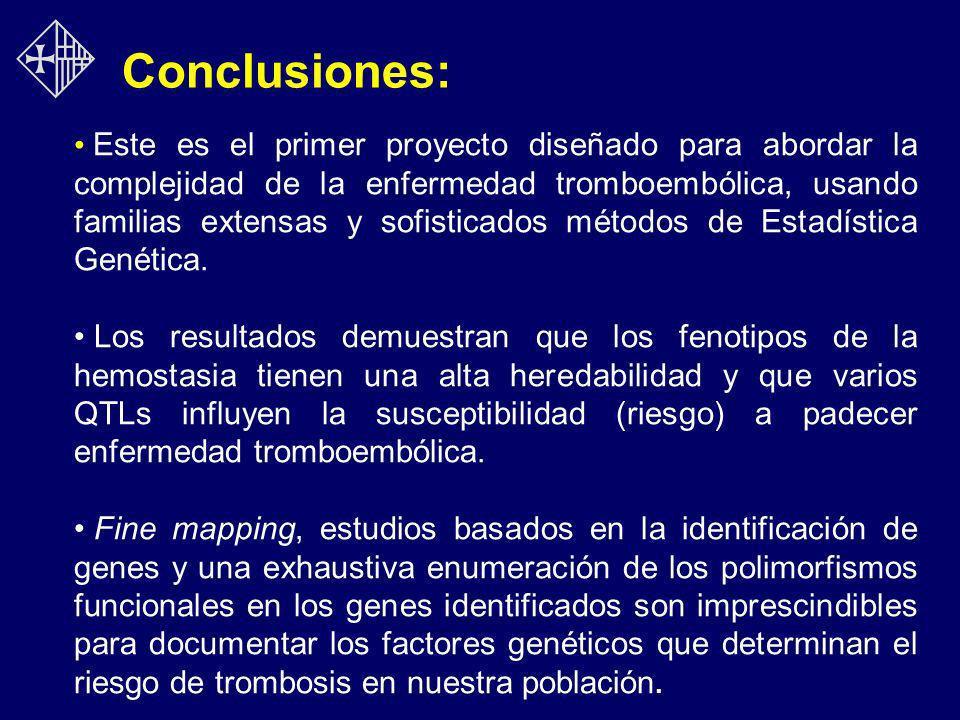 Conclusiones: Este es el primer proyecto diseñado para abordar la complejidad de la enfermedad tromboembólica, usando familias extensas y sofisticados