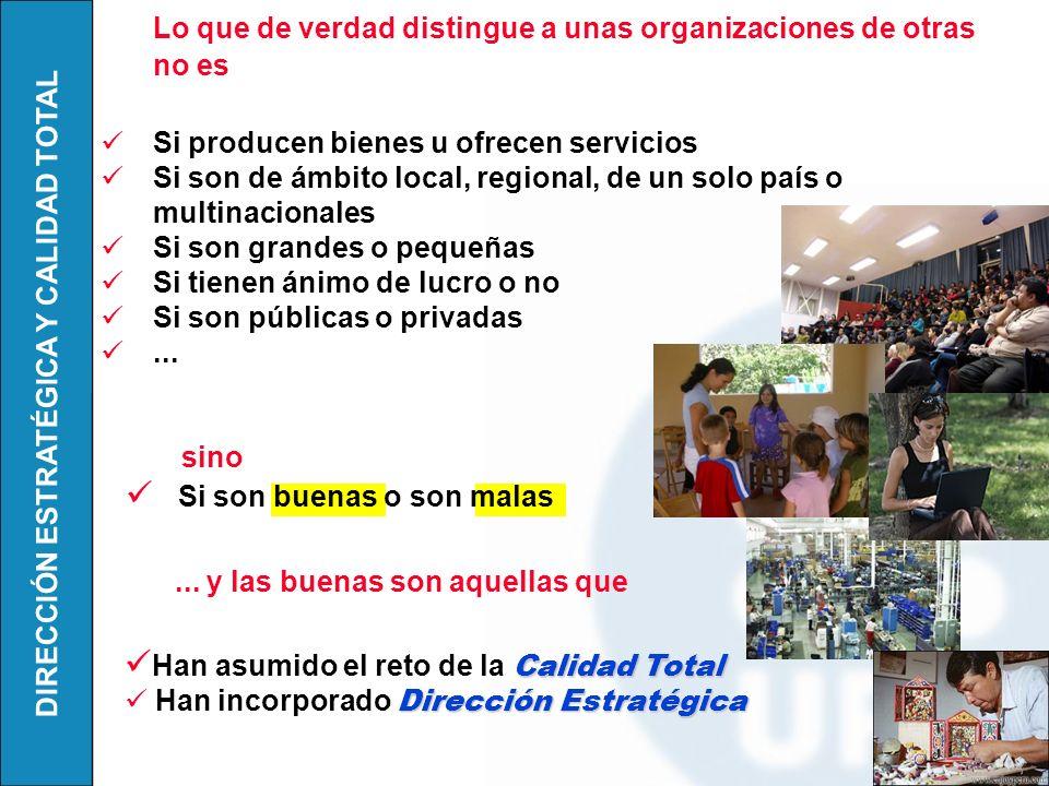 DIRECCIÓN ESTRATÉGICA Y CALIDAD TOTAL Lo que de verdad distingue a unas organizaciones de otras no es Si producen bienes u ofrecen servicios Si son de