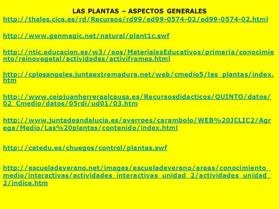 LAS PLANTAS – ASPECTOS GENERALES http://thales.cica.es/rd/Recursos/rd99/ed99-0574-02/ed99-0574-02.html http://www.genmagic.net/natural/plant1c.swf htt