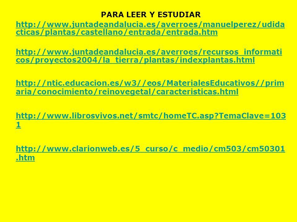 PARA LEER Y ESTUDIAR http://www.juntadeandalucia.es/averroes/manuelperez/udida cticas/plantas/castellano/entrada/entrada.htm http://www.juntadeandaluc