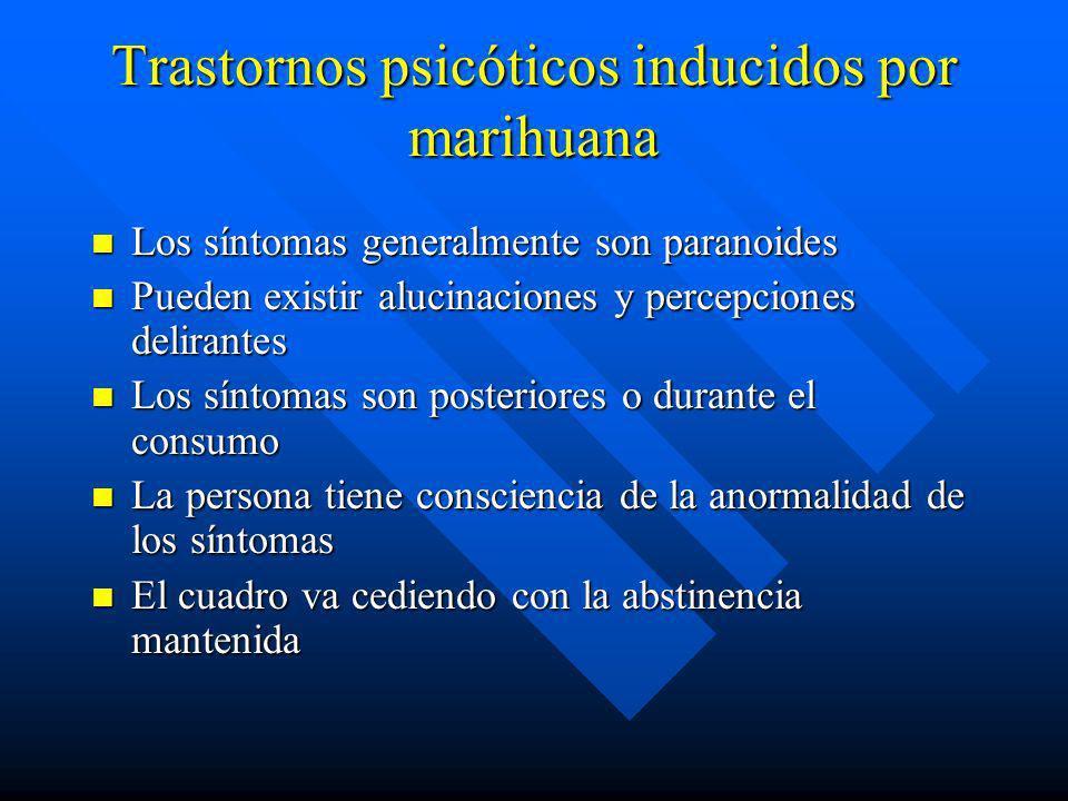 Estudio de comorbilidad en dependientes a marihuana,(Vito et al. 2002) n 90% vs 54.7% prevalencia de vida TMC n Dependencia a alcohol, T. Pd antisocia