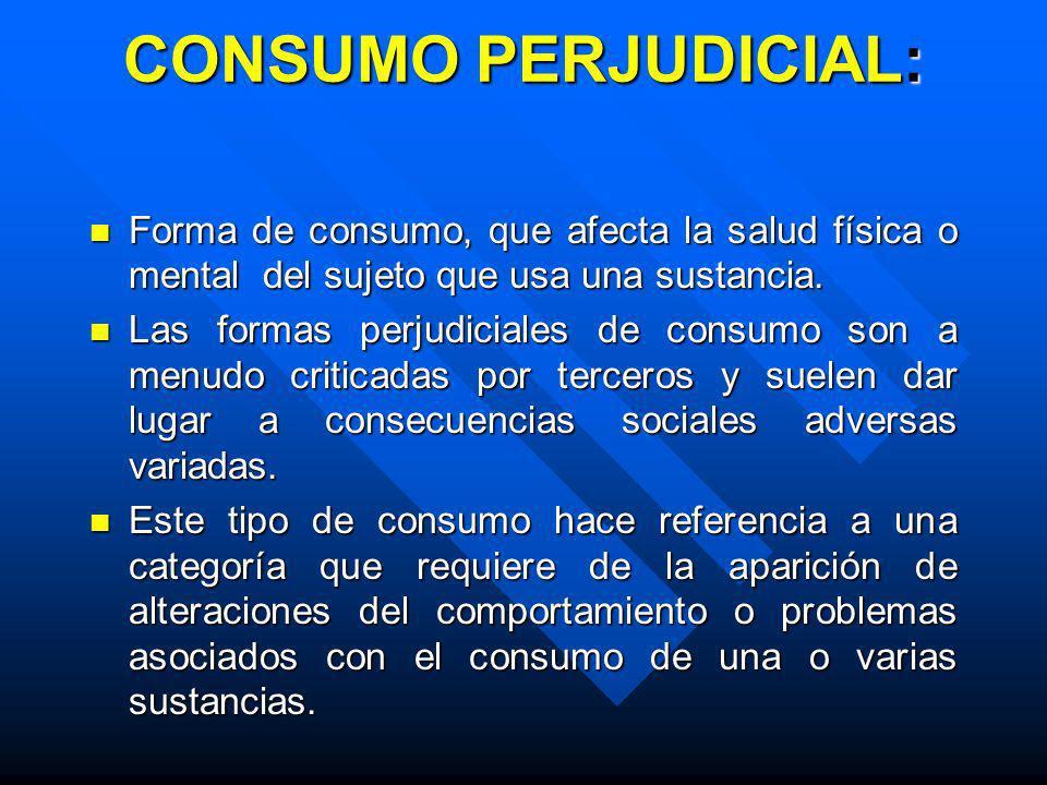 Definiciones de consumo ocasional y tolerancia n n Consumo Ocasional : Se refiere al abuso esporádico de la sustancia, manteniendo un buen rendimiento