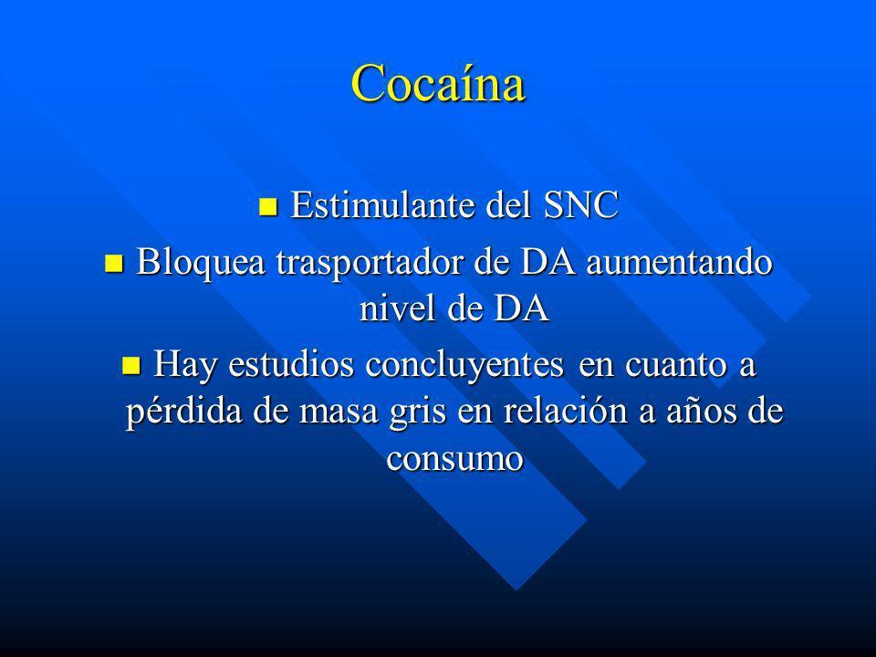 Ruta Consecuencias n Oral n Intranasal(snorting) n Intravenosa n Fumada n Inicio lento, bajo potencial adictivo, niveles sanguíneos sostenidos. n Inic