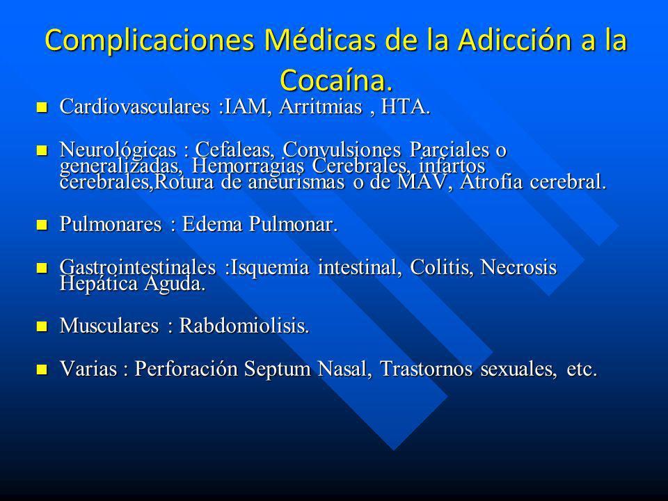 Riesgos asociados al consumo de cocaina n Mayor probabilidad de presentar crisis de pánico n Otros trastornos psiquiátricos (trastornos psicóticos, de