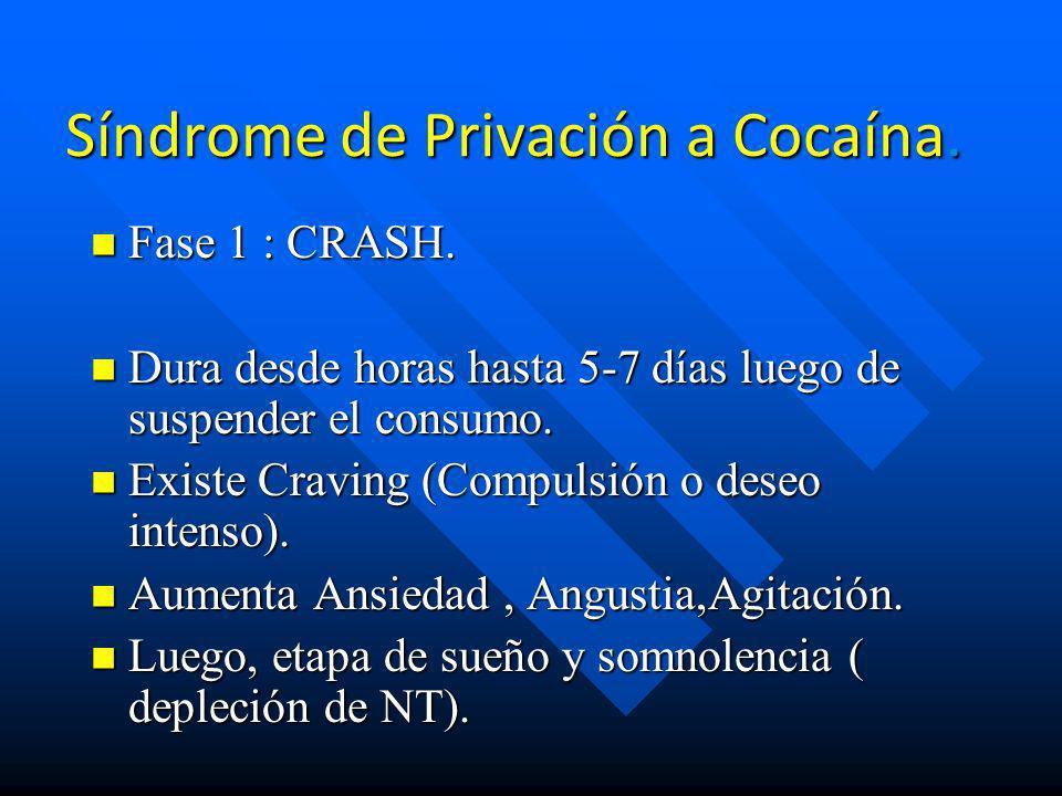 Sindrome de abstinencia n Primera etapa 48 hrs. intenso craving por la droga, con irritabilidad y angustia. n Aproximadamente 10 semanas. Pueden apare