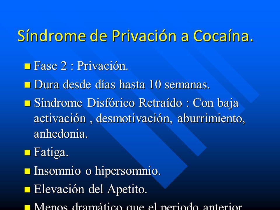 Síndrome de Privación a Cocaína. n Fase 1 : CRASH. n Dura desde horas hasta 5-7 días luego de suspender el consumo. n Existe Craving (Compulsión o des