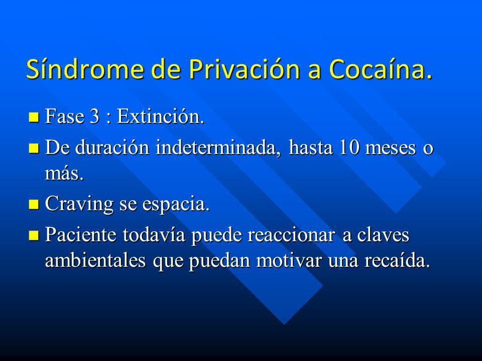 Síndrome de Privación a Cocaína. n Fase 2 : Privación. n Dura desde días hasta 10 semanas. n Síndrome Disfórico Retraído : Con baja activación, desmot