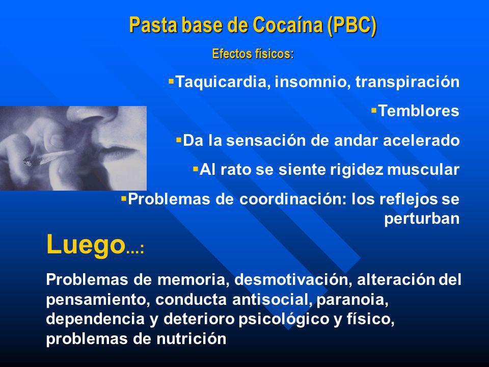 Cocaína (Clorhidrato de cocaína): Efectos La persona se siente acelerada Parece que quitara el cansancio y el hambre por un rato Se acelera el corazón
