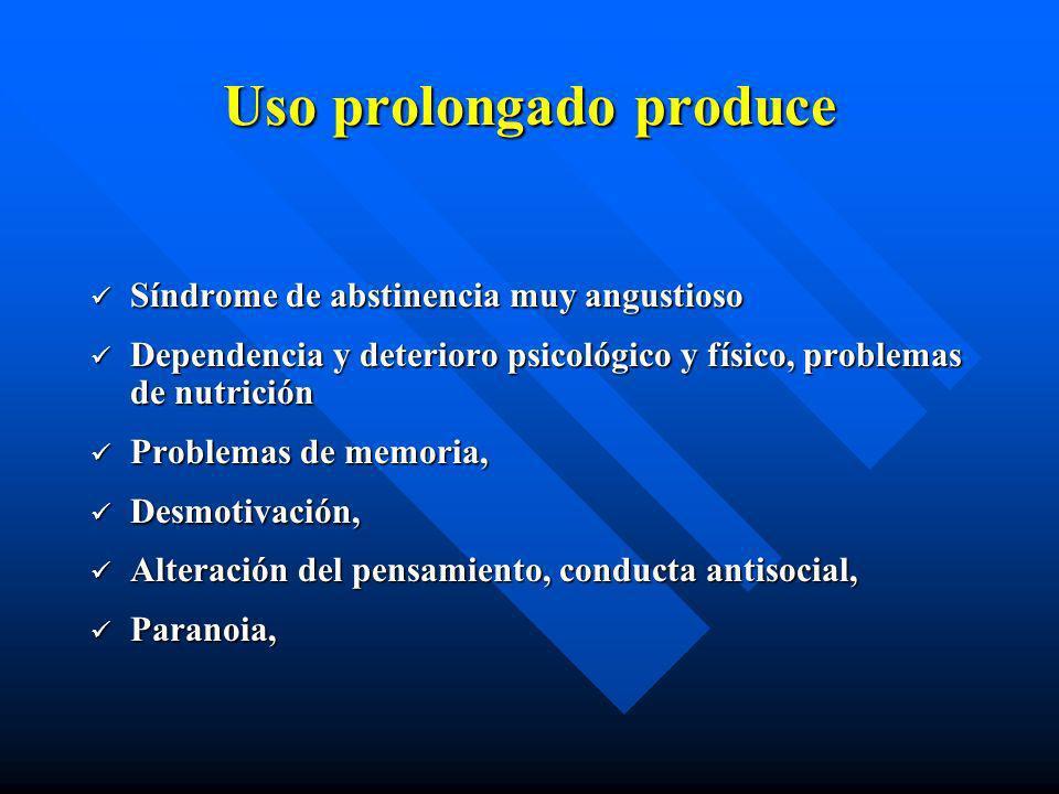 Pasta base de Cocaína (PBC) Efectos físicos: Taquicardia, insomnio, transpiración Temblores Da la sensación de andar acelerado Al rato se siente rigid