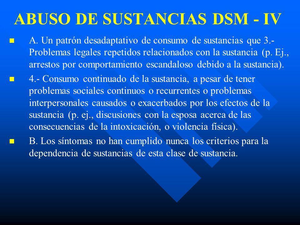 ABUSO DE SUSTANCIAS DSM - IV n n A. Un patrón desadaptativo de consumo de sustancias que conlleva un deterioro o malestar clínicamente significativos,