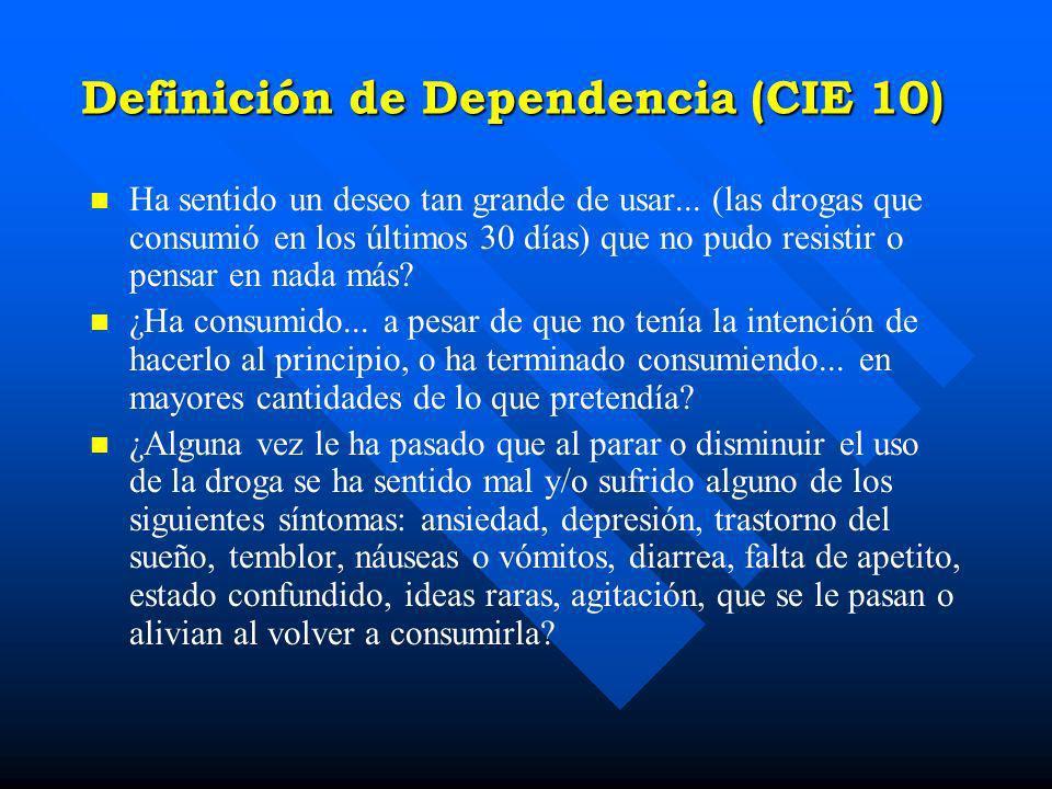 ABUSO DE SUSTANCIAS DSM - IV n n A. Un patrón desadaptativo de consumo de sustancias que 3.- Problemas legales repetidos relacionados con la sustancia