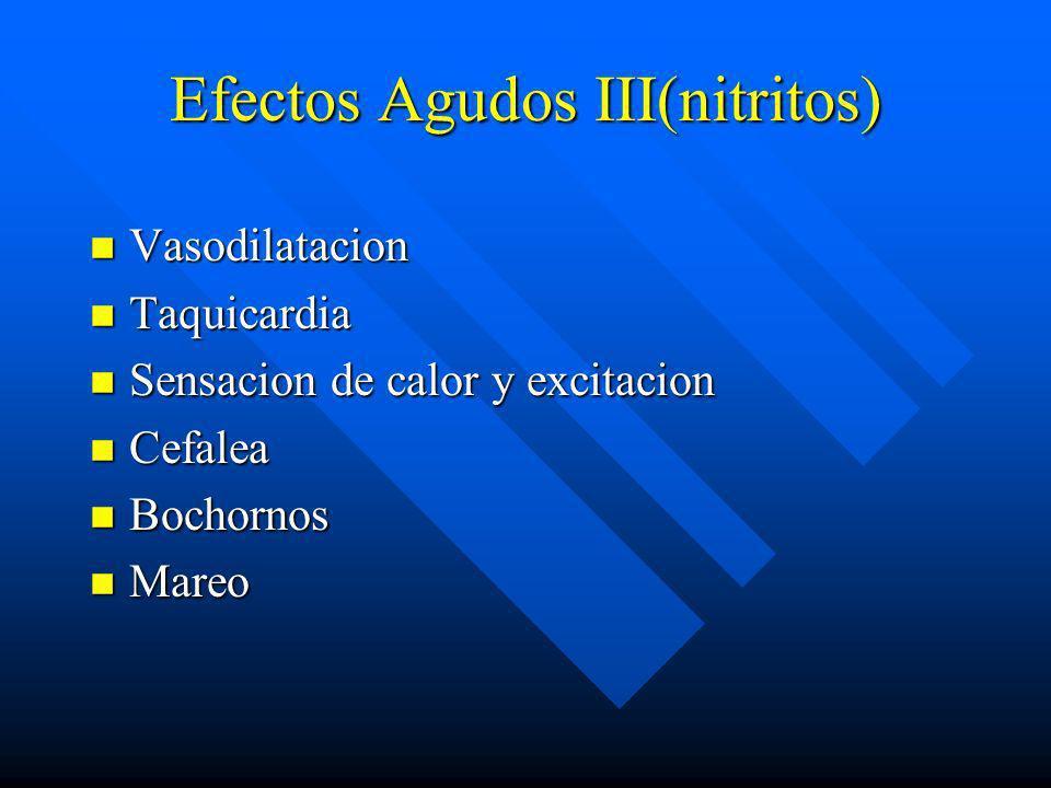 Efectos agudos II n Alt.en funcionamiento social y laboral n Cefalea, euforia, falta de coordinacion n Confusion y delirium n Nauseas y vomitos n Depe