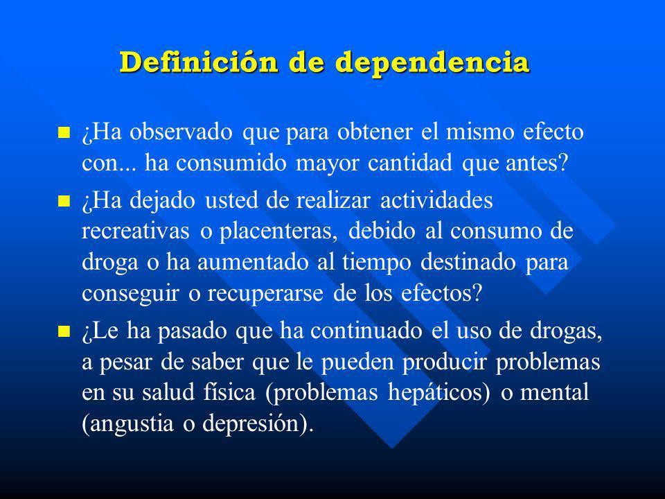Definición de Dependencia (CIE 10) n n Ha sentido un deseo tan grande de usar... (las drogas que consumió en los últimos 30 días) que no pudo resistir