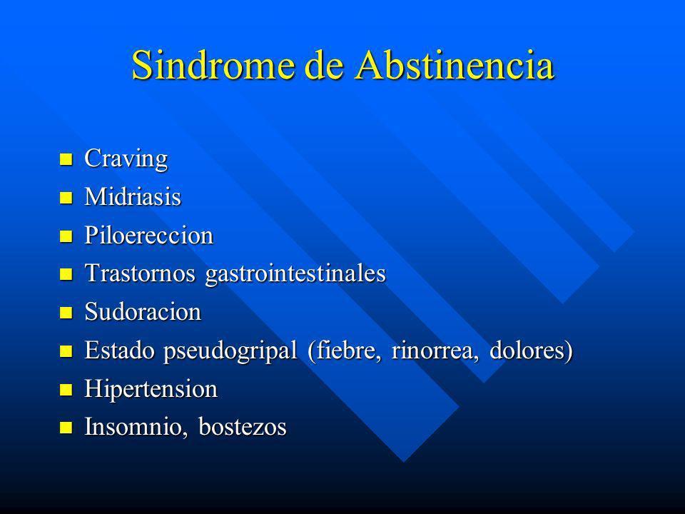 Sintomas con uso cronico. n Tolerancia n Dependencia fisica n Sindrome de Abstinencia especifico al suspender o disminuir cantidad n Depresion respira