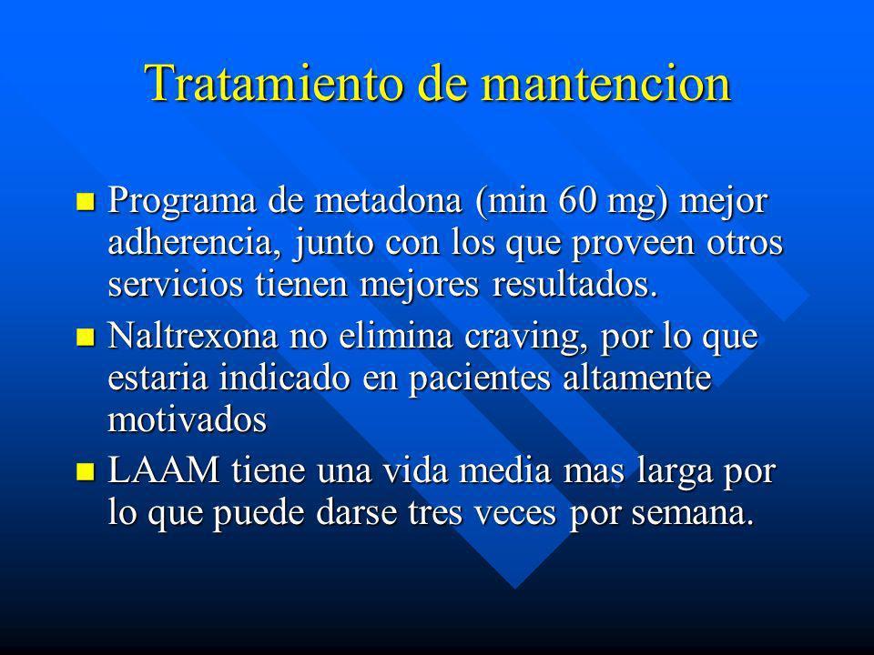 Tratamiento n De la intoxicacion (hospitalizar en UTI) n Desintoxicacion (tto de la abstinencia) n Medicamentos: –Metadona (bloquea efecto de opiodes)