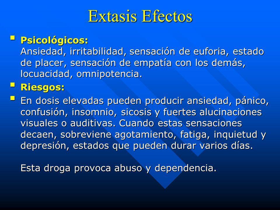 Extasis Efectos Físicos: Energía, alta sensibilidad y reducción de la ansiedad al contacto físico, mayor tolerancia a la fatiga, taquicardia, arritmia