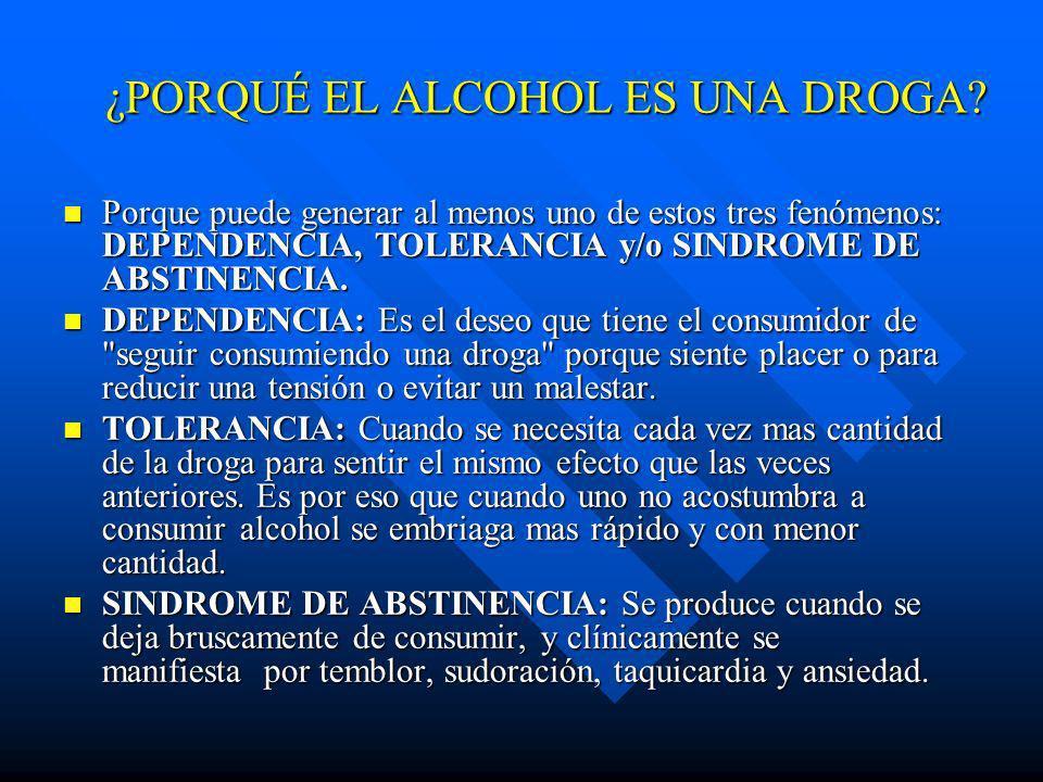 El ALCOHOL Es una droga legal n EI alcohol es una droga que deprime el SNC, es decir, retarda las funciones cerebrales y pone mas lentas las acciones