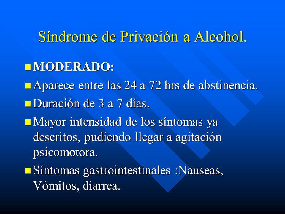 Síndrome de Privación a Alcohol. n LEVE : n Aparece entre las 6 a 48 hrs de abstinencia. n Duración de 1 a 4 días. n Irritabilidad, Ansiedad, Inquietu