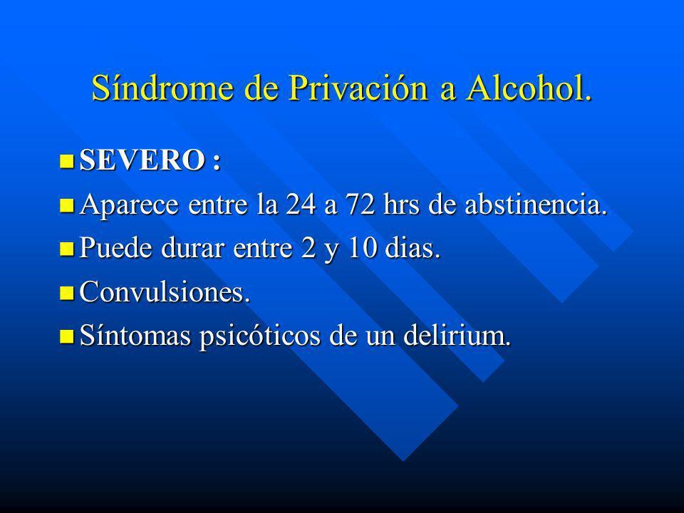 Síndrome de Privación a Alcohol. n MODERADO: n Aparece entre las 24 a 72 hrs de abstinencia. n Duración de 3 a 7 días. n Mayor intensidad de los sínto