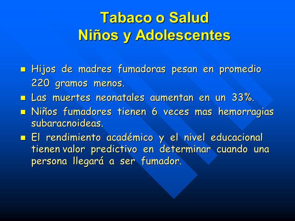 Relación entre pobreza y tabaquismo : –El hábito tabáquico está en aumento en las poblaciones más pobres. –Hay una sinergia entre los riesgos asociado