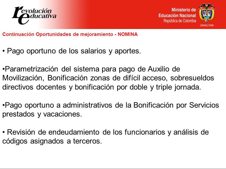 Continuación Oportunidades de mejoramiento - NOMINA Pago oportuno de los salarios y aportes. Parametrización del sistema para pago de Auxilio de Movil