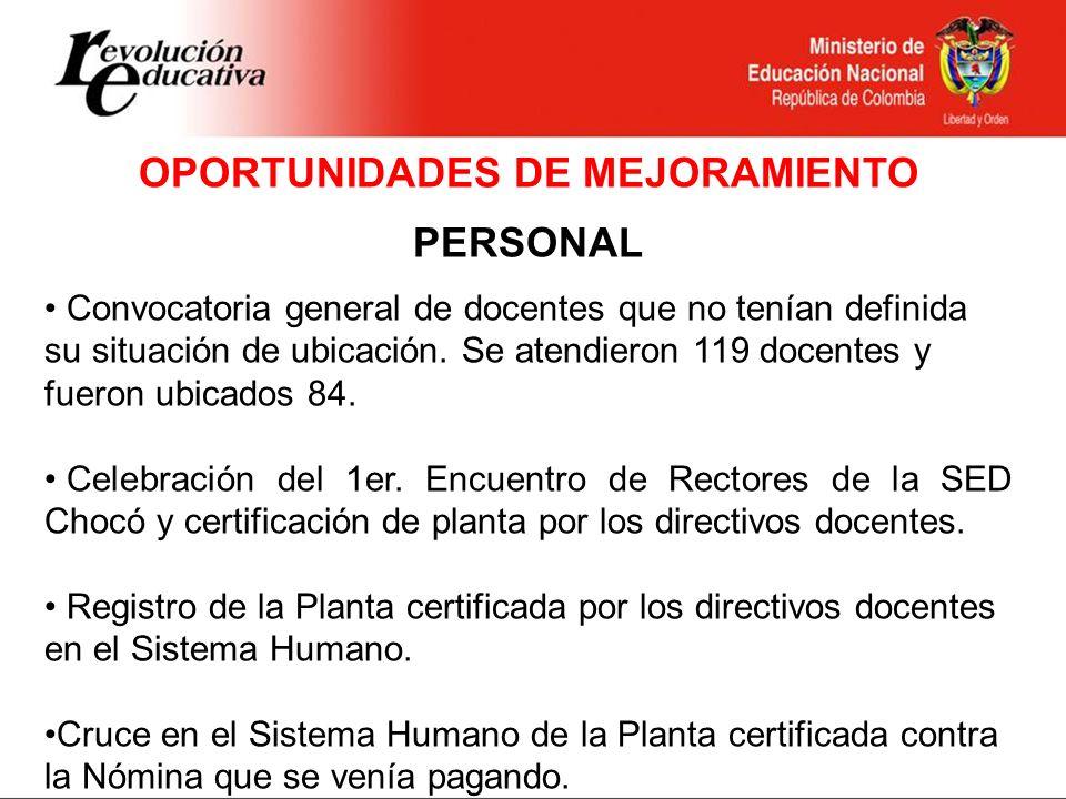 Continuación - Oportunidades de Mejoramiento Fondo de Prestaciones del Magisterio Reactivación de Comité Regional de Salud y Prestaciones del Magisterio.