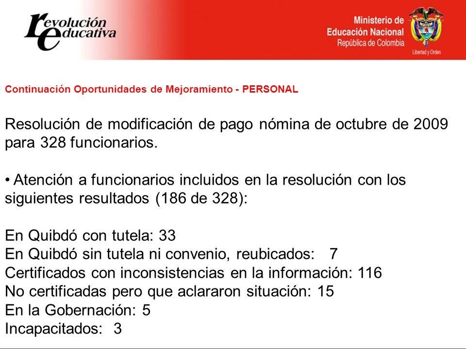 Continuación Oportunidades de Mejoramiento - PERSONAL Resolución de modificación de pago nómina de octubre de 2009 para 328 funcionarios. Atención a f
