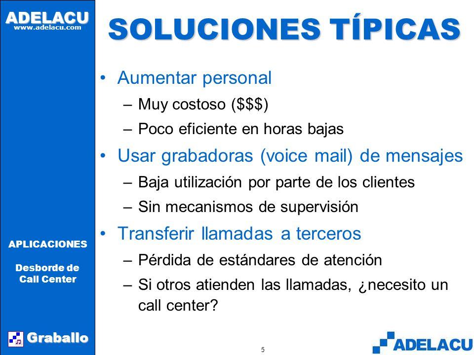 ADELACU www.adelacu.com Graballo APLICACIONES Desborde de Call Center 4 EL PROBLEMA Una llamada abandonada o un mensaje no atendido producen insatisfacción en los clientes, además de la posible pérdida de un negocio.