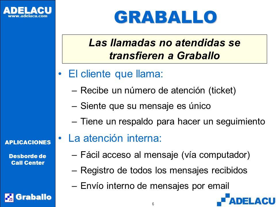 ADELACU www.adelacu.com Graballo APLICACIONES Desborde de Call Center 5 SOLUCIONES TÍPICAS Aumentar personal –Muy costoso ($$$) –Poco eficiente en hor
