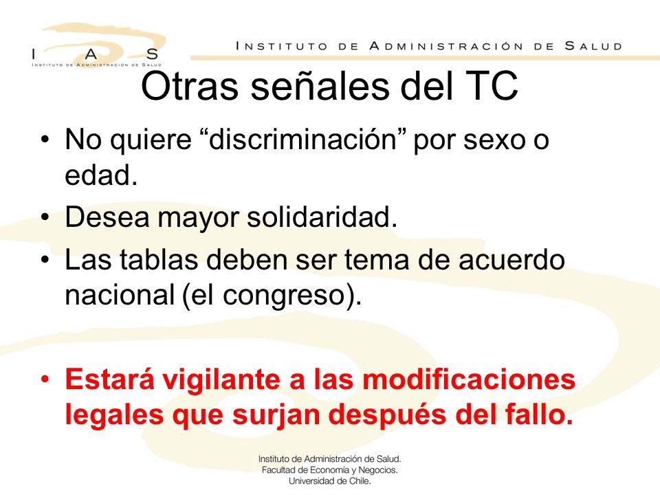 Otras señales del TC No quiere discriminación por sexo o edad. Desea mayor solidaridad. Las tablas deben ser tema de acuerdo nacional (el congreso). E
