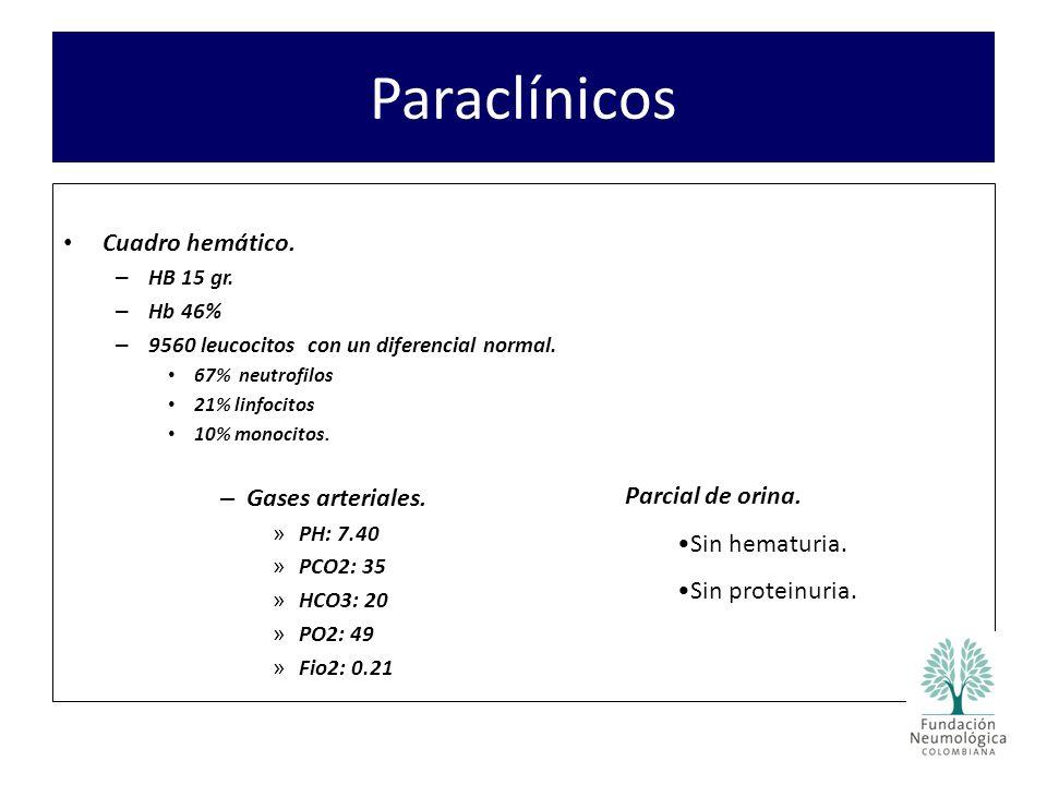Paraclínicos Cuadro hemático. – HB 15 gr. – Hb 46% – 9560 leucocitos con un diferencial normal. 67% neutrofilos 21% linfocitos 10% monocitos. – Gases