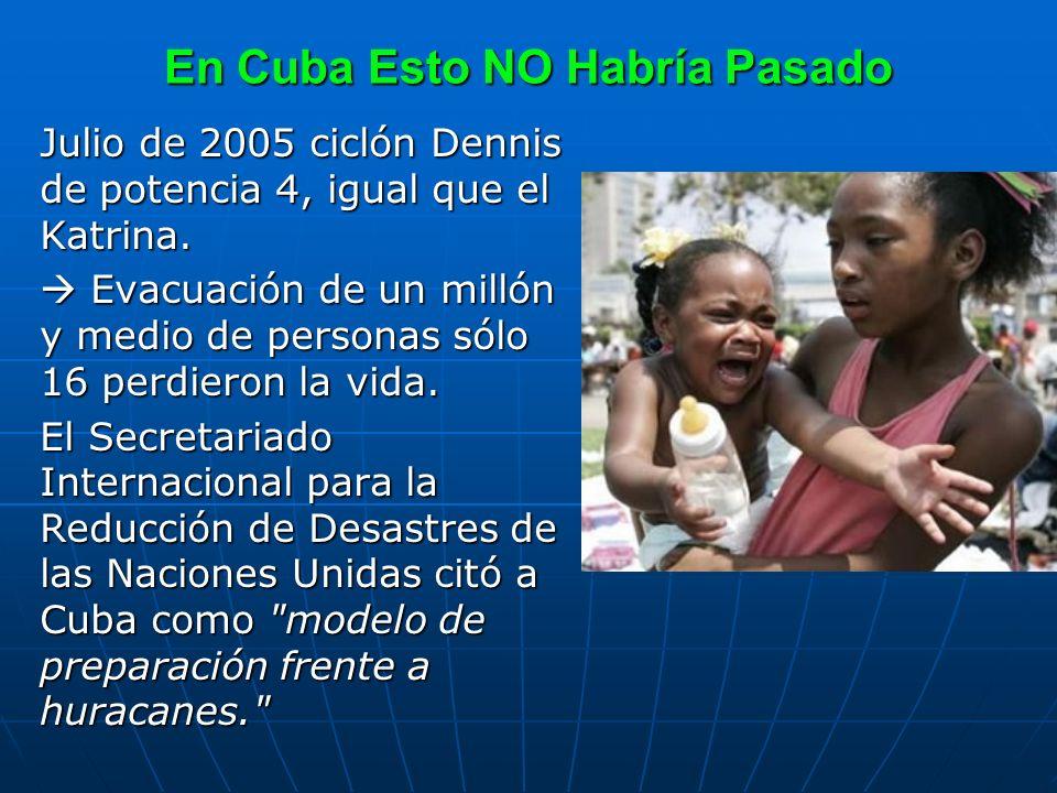En Cuba Esto NO Habría Pasado Julio de 2005 ciclón Dennis de potencia 4, igual que el Katrina. Evacuación de un millón y medio de personas sólo 16 per