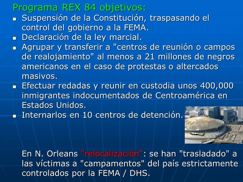 Programa REX 84 objetivos: Suspensión de la Constitución, traspasando el control del gobierno a la FEMA. Suspensión de la Constitución, traspasando el