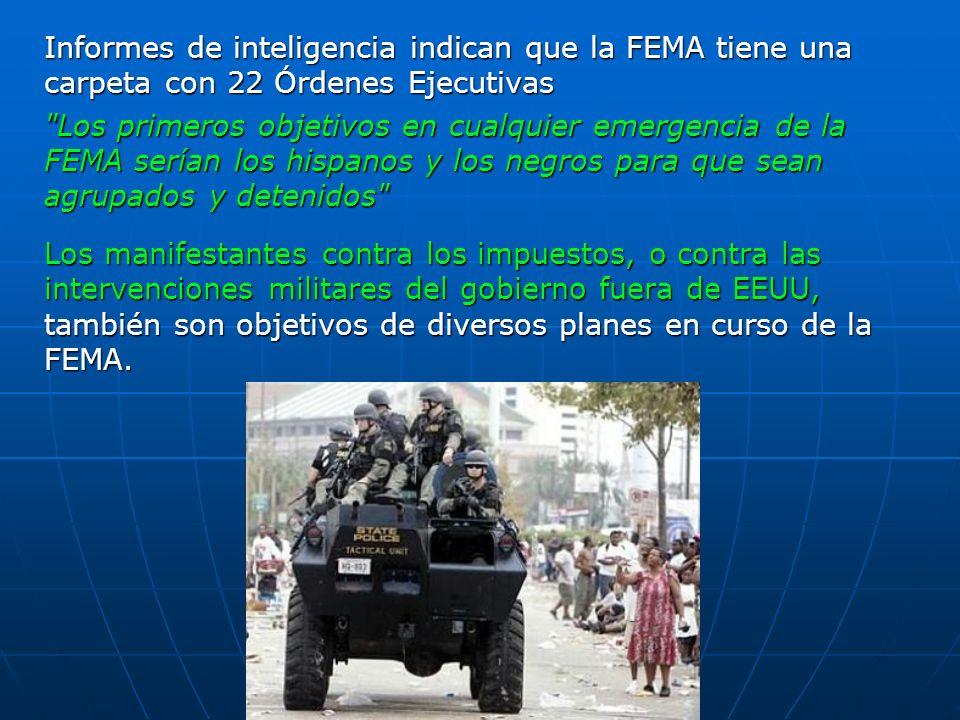 Informes de inteligencia indican que la FEMA tiene una carpeta con 22 Órdenes Ejecutivas
