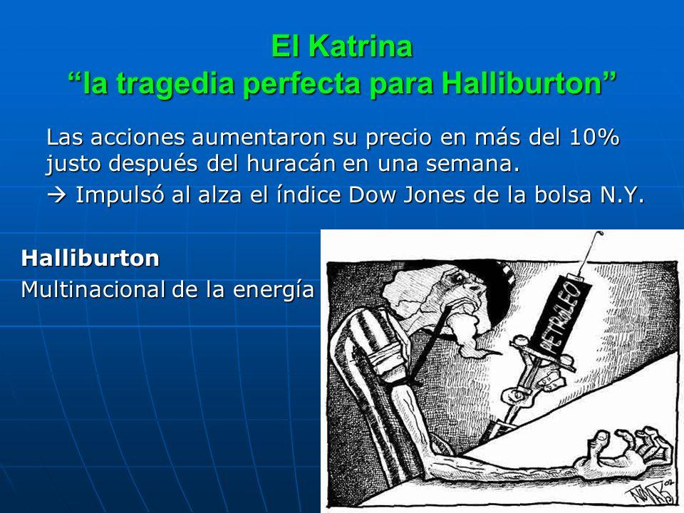 El Katrina la tragedia perfecta para Halliburton Las acciones aumentaron su precio en más del 10% justo después del huracán en una semana. Impulsó al