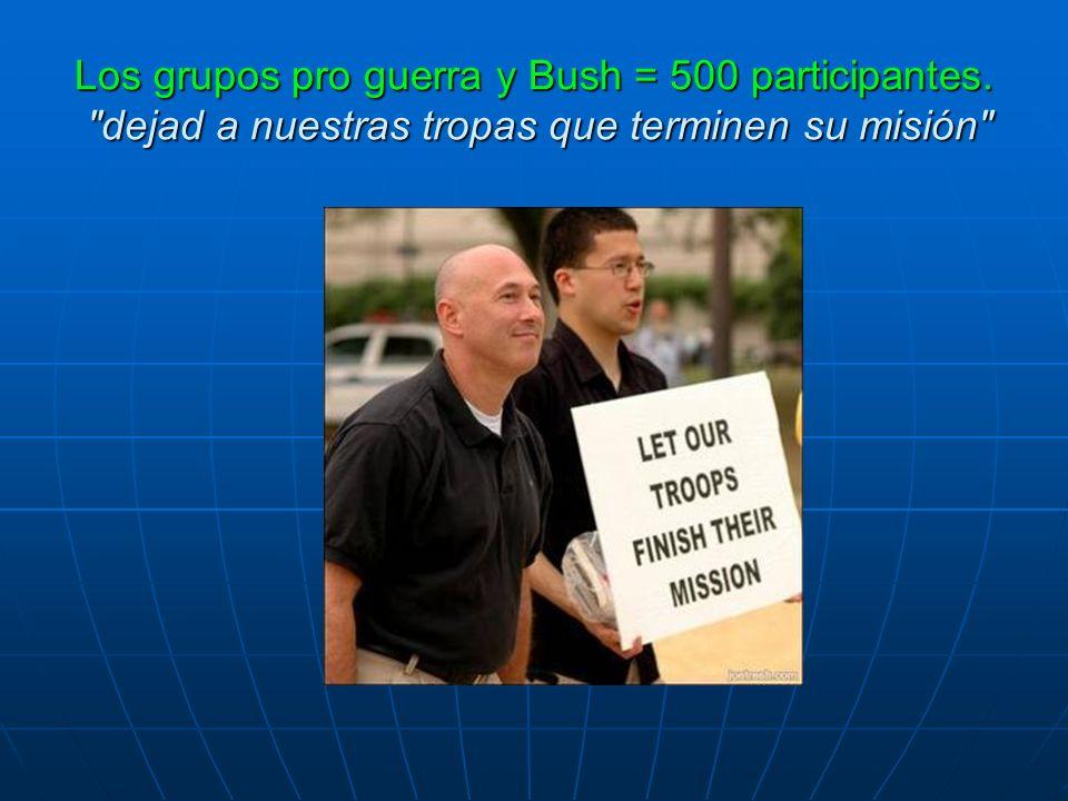 Los grupos pro guerra y Bush = 500 participantes.