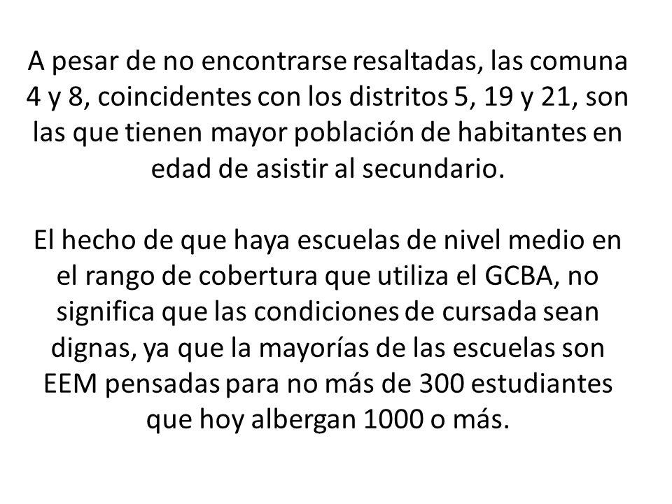 A pesar de no encontrarse resaltadas, las comuna 4 y 8, coincidentes con los distritos 5, 19 y 21, son las que tienen mayor población de habitantes en