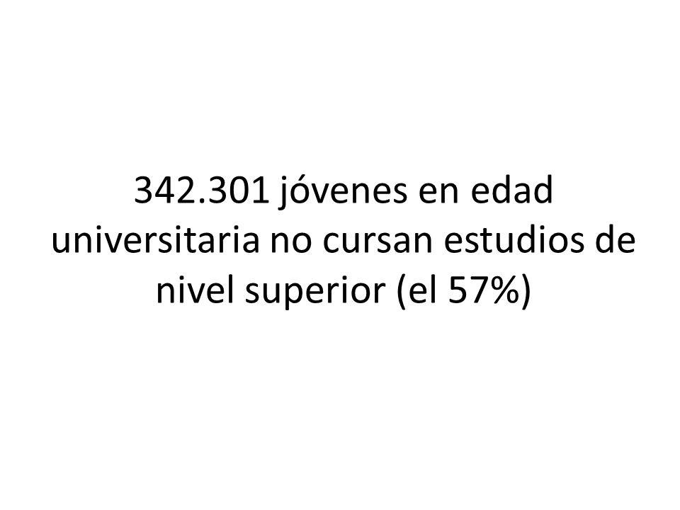 342.301 jóvenes en edad universitaria no cursan estudios de nivel superior (el 57%)