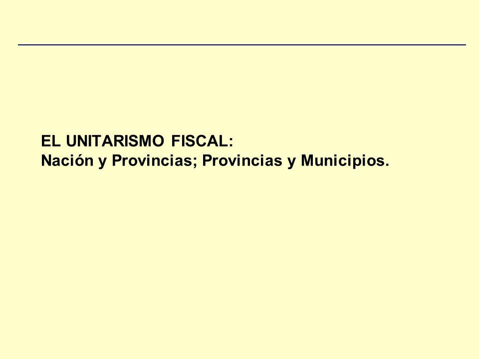 EL UNITARISMO FISCAL: Nación y Provincias; Provincias y Municipios.
