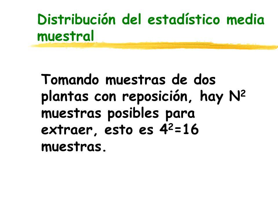Distribución del estadístico media muestral Tomando muestras de dos plantas con reposición, hay N 2 muestras posibles para extraer, esto es 4 2 =16 mu