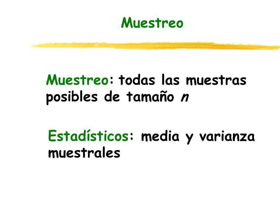 Muestreo Muestreo: todas las muestras posibles de tamaño n Estadísticos: media y varianza muestrales