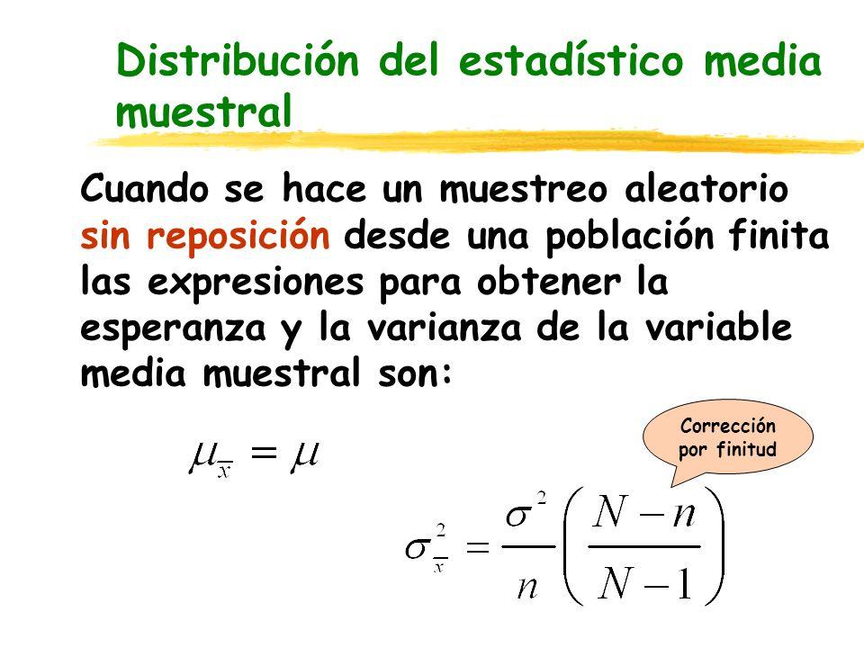 Distribución del estadístico media muestral Cuando se hace un muestreo aleatorio sin reposición desde una población finita las expresiones para obtene
