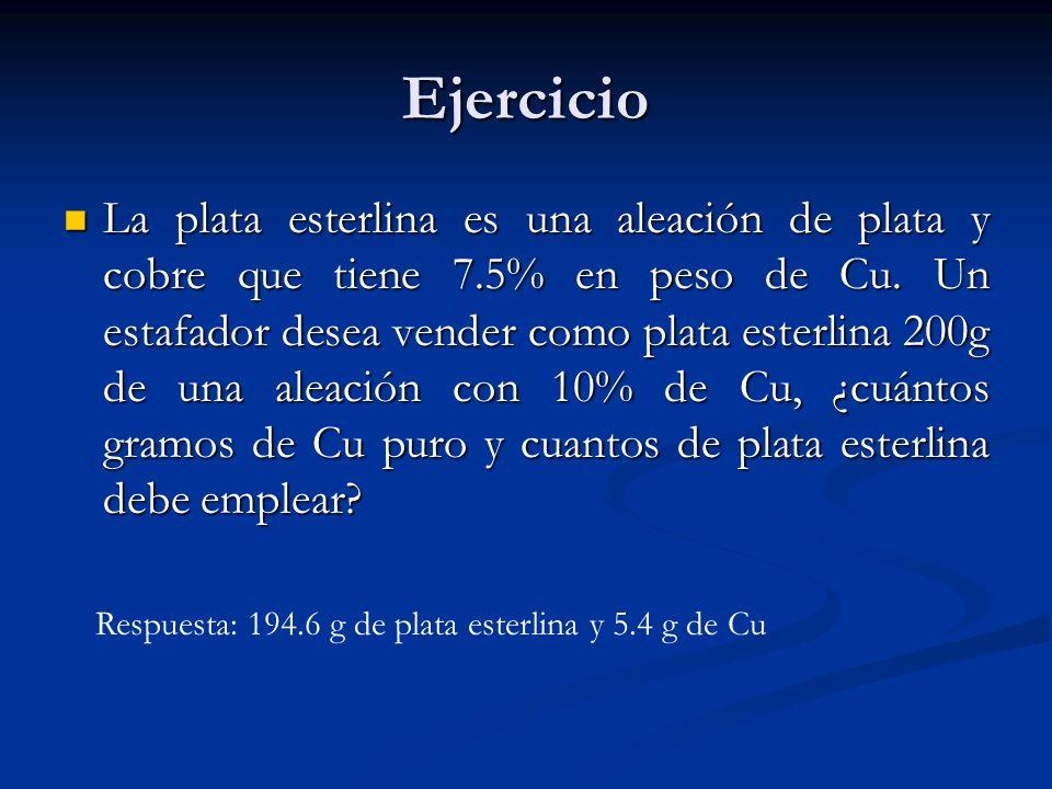 Ejercicio La plata esterlina es una aleación de plata y cobre que tiene 7.5% en peso de Cu. Un estafador desea vender como plata esterlina 200g de una