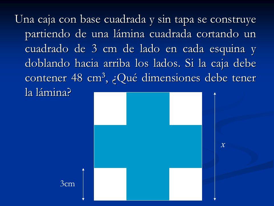 Una caja con base cuadrada y sin tapa se construye partiendo de una lámina cuadrada cortando un cuadrado de 3 cm de lado en cada esquina y doblando ha