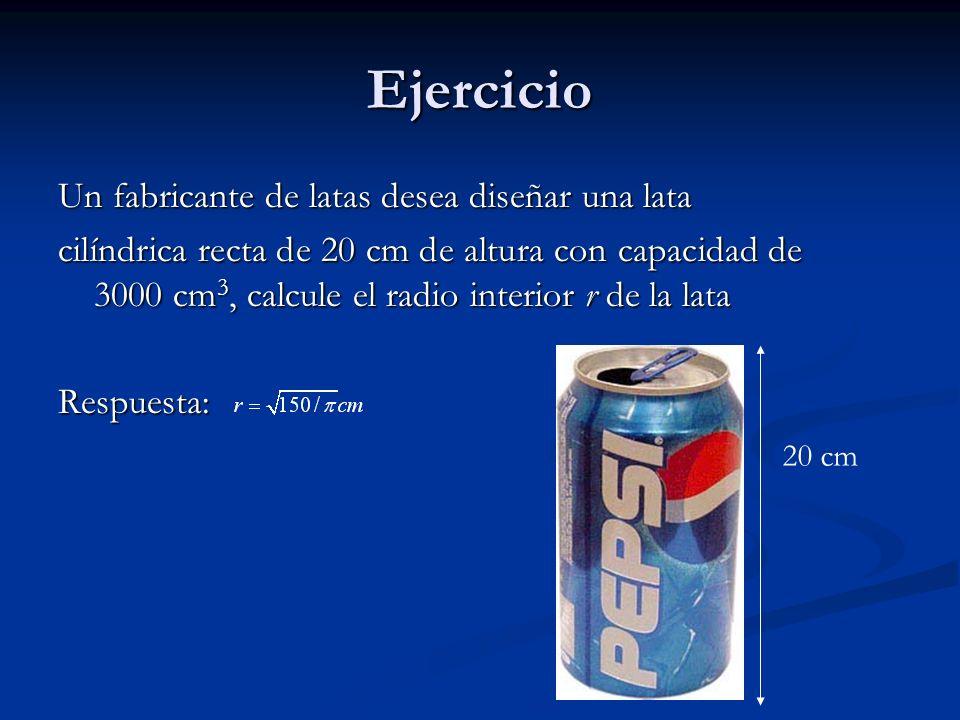 Ejercicio Un fabricante de latas desea diseñar una lata cilíndrica recta de 20 cm de altura con capacidad de 3000 cm 3, calcule el radio interior r de