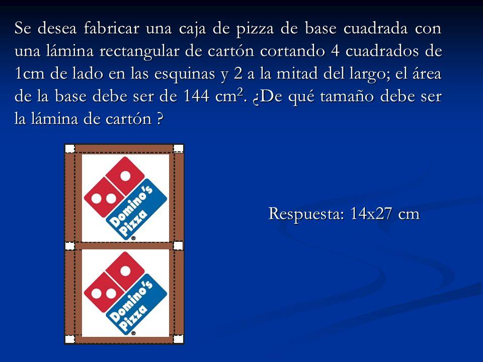 Se desea fabricar una caja de pizza de base cuadrada con una lámina rectangular de cartón cortando 4 cuadrados de 1cm de lado en las esquinas y 2 a la