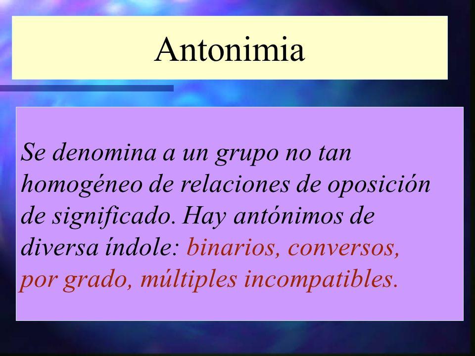 Antonimia Se denomina a un grupo no tan homogéneo de relaciones de oposición de significado. Hay antónimos de diversa índole: binarios, conversos, por