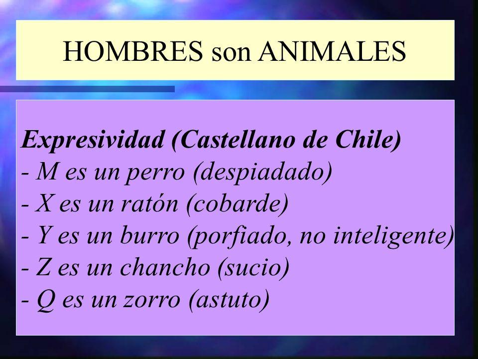 HOMBRES son ANIMALES Expresividad (Castellano de Chile) - M es un perro (despiadado) - X es un ratón (cobarde) - Y es un burro (porfiado, no inteligen